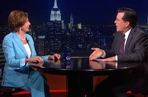 colbert asks pelosi: 'do you have naked photos of john boehner?'